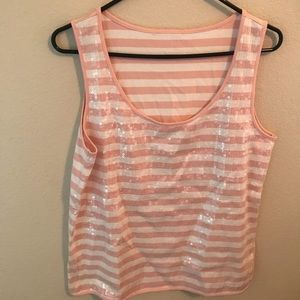 Talbots Tops - Talbots Pink and White Sequin Stripe Tank Top.